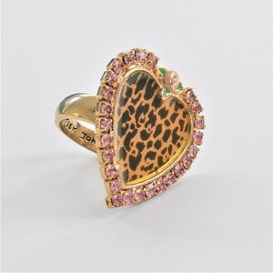 Betsey Johnson Statement Leopard Heart Ring